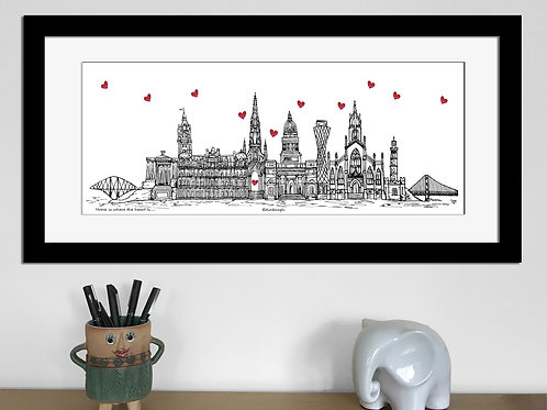 Edinburgh skyline art print, Home is where the heart is,Edinburgh landmarks