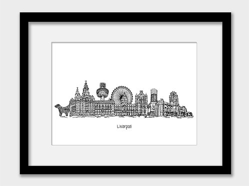 Liverpool print, black white
