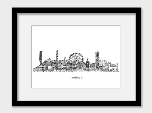 Manchester print, black and white