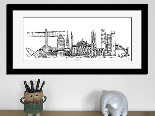 Newcastle skyline art print, Black and White, Newcastle landmarks