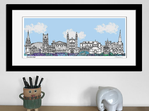 Cambridge landmarks skyline art print (Blue)
