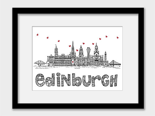 Edinburgh landmarks print, black and white, Home is where the heart is