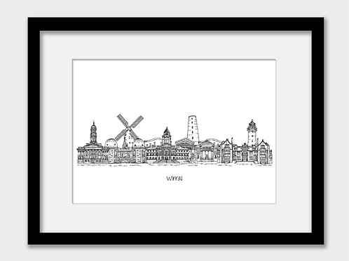 Wirral print, black and white
