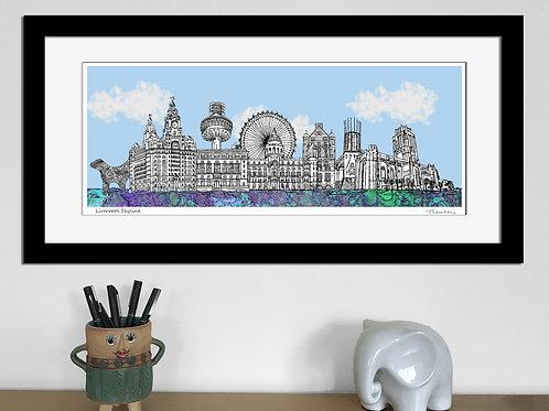 Liverpool landmarks skyline art print (Blue)