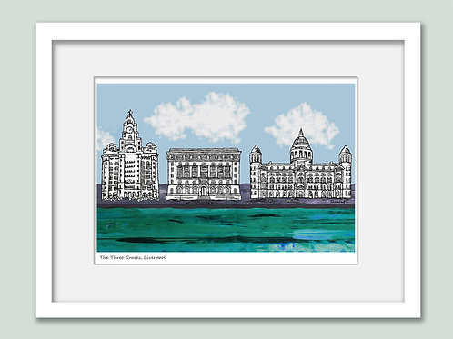 Three Graces on the Waterfront Liverpool Print