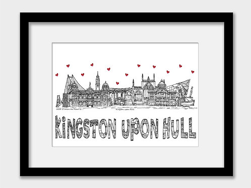 Kingston upon Hull landmarks print, black and white, Home is where the heart is