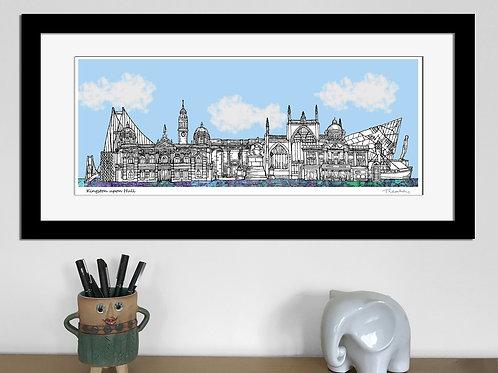 Kingston upon Hull landmarks skyline art print (Blue), Hull print