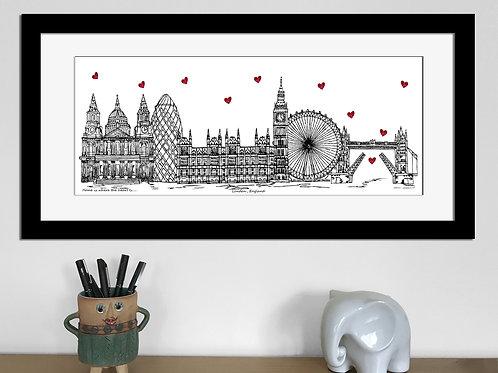 London skyline art print, Home is where the heart is, London England