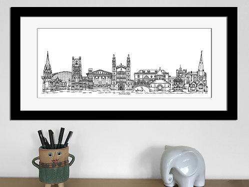 Cambridge skyline art print, Black and White, Cambridge landmarks