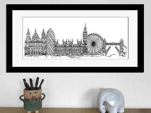 London skyline art print, Black and White, London England