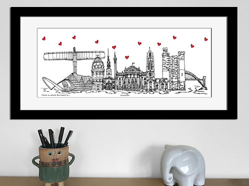 Newcastle skyline art print, Home is where the heart is, Newcastle landmarks