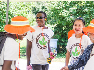 City Sprouts interns build garden beds at the Ronald McDonald House