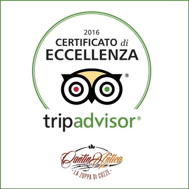Certificato D'Eccellenza 2016 - TripAdvisor