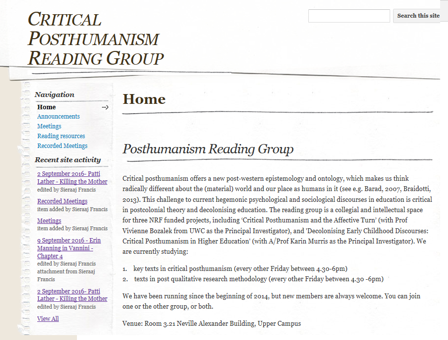reading group site