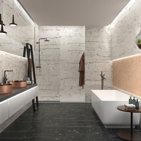 Leonardo White Tile | Heller Rose Gold Basin
