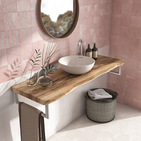 Trazos Flamingo Tile | Berlin Flamingo Basin