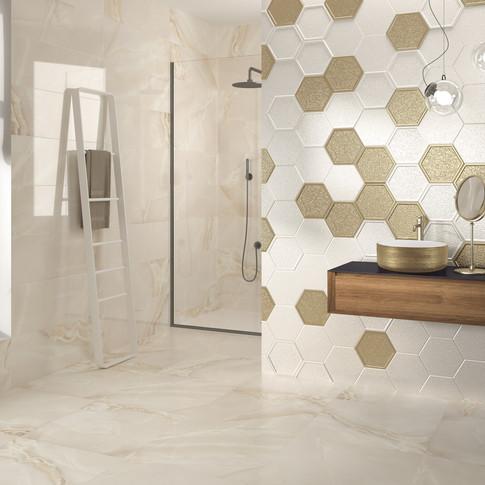 Selene Light Tile | Hexaline White Tile | Majestic Gold Tile | Heller White and Gold Basin