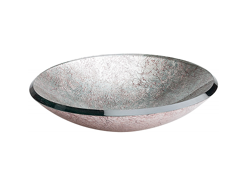 Round Silver Glass Basin