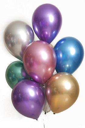 Globos R12 cromados inflados con helio