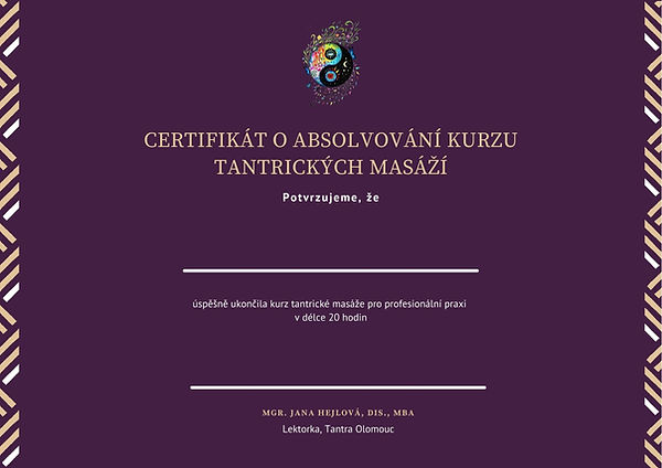 Certifikát o absolvování kurzu tantrické