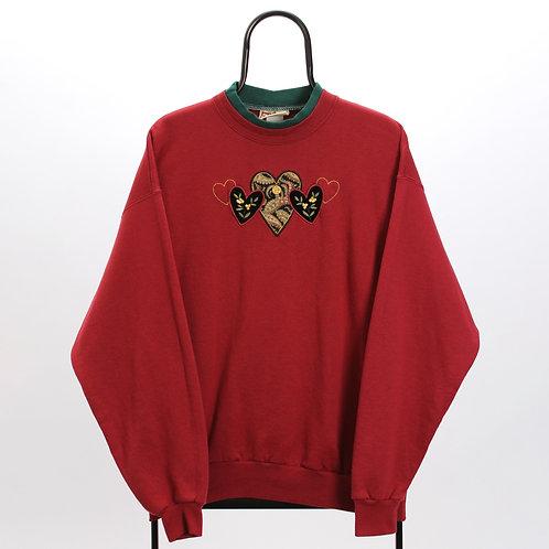 Vintage Maroon Heart Sweatshirt