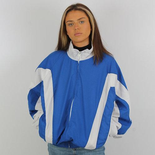 Vintage Blue and White Windbreaker Jacket