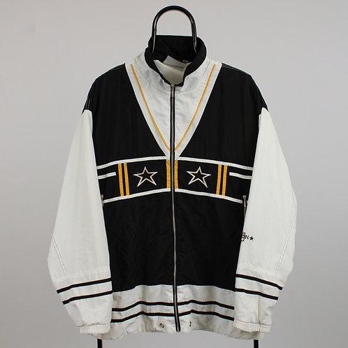 Vintage Black Star Pattern Windbreaker Jacket