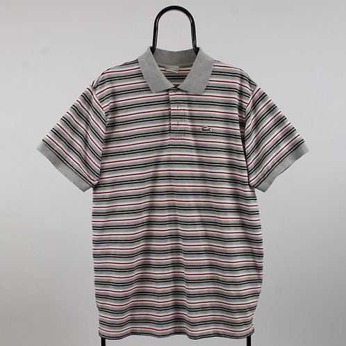 Lacoste Vintage Grey Striped Polo Shirt