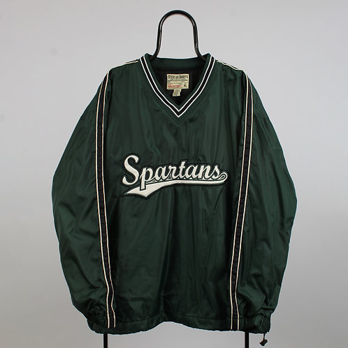Vintage Steve & Barrys Green Michigan NCAA State Spartans Tracksuit Top
