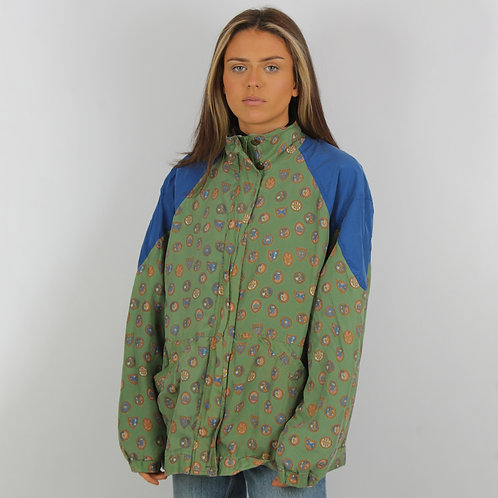 Vintage Green Crest Windbreaker Jacket