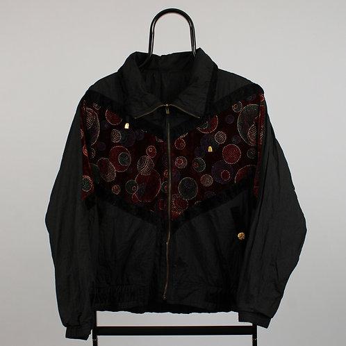 Vintage Black Velvet Windbreaker Jacket