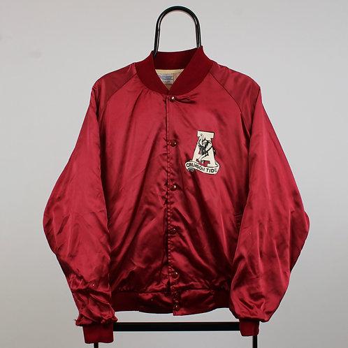 Vintage 80s Maroon NCAA Alabama Crimson Tide Satin Varsity Jacket