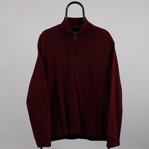Ralph Lauren Vintage Maroon 1/4 Zip Sweater