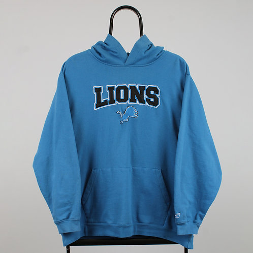 NFL Vintage Detroit Lions Spell Out Blue Hoodie