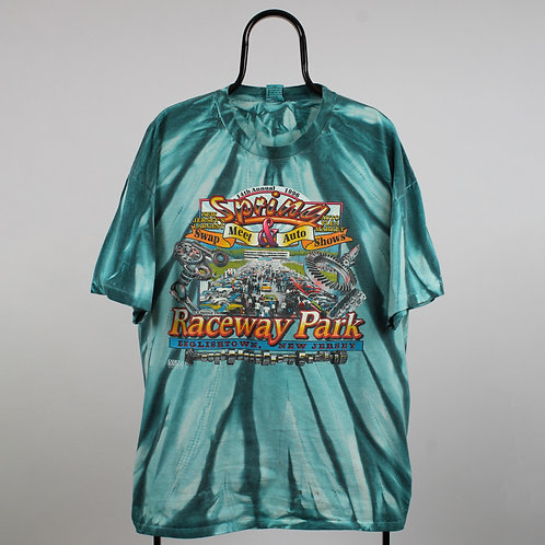 Vintage 90s Tie Dye Car Show Blue Tshirt