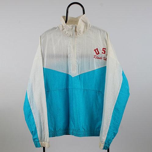 Vintage White and Blue USA 1/4 Zip Windbreaker Jacket
