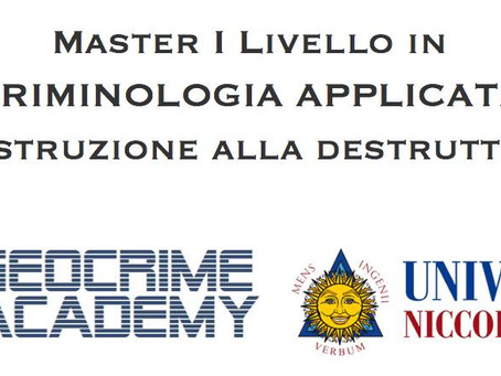 Master di I livello in Criminologia applicata