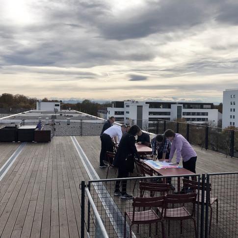 Auf dem Dach des Balan-Gebäudes
