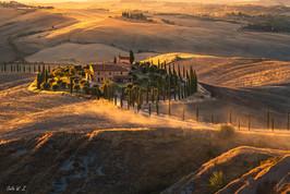 A Farm under Sunset Light