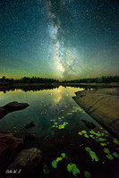 French River  under the milkway in later summer
