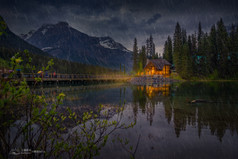 Emerald lake in the Rain