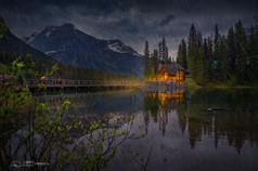 Emerald lake in the Rain