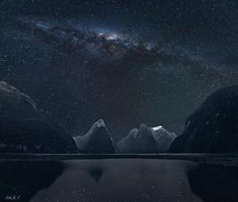Milford Sound的夜空