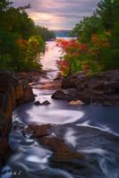 Sunset on Rosseau Falls in Autumn