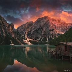 Sunset on Lago Braies