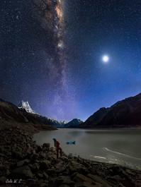 仰望--月亮銀河同輝!