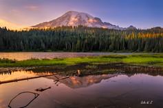 Sunset Lights on Mount Rainier