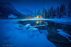 Emerald lake in the Snow