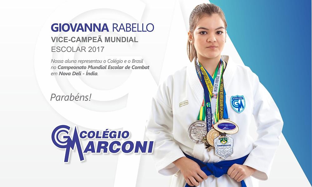 Giovanna Rabello - Atleta da Equipe de Karatê do Colégio Marconi