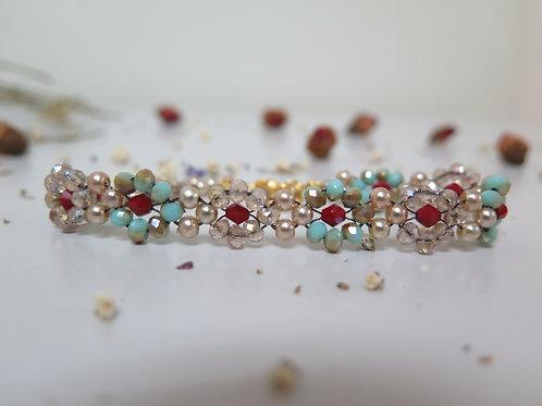 Teal & Crystal Daisy Beaded Bracelet